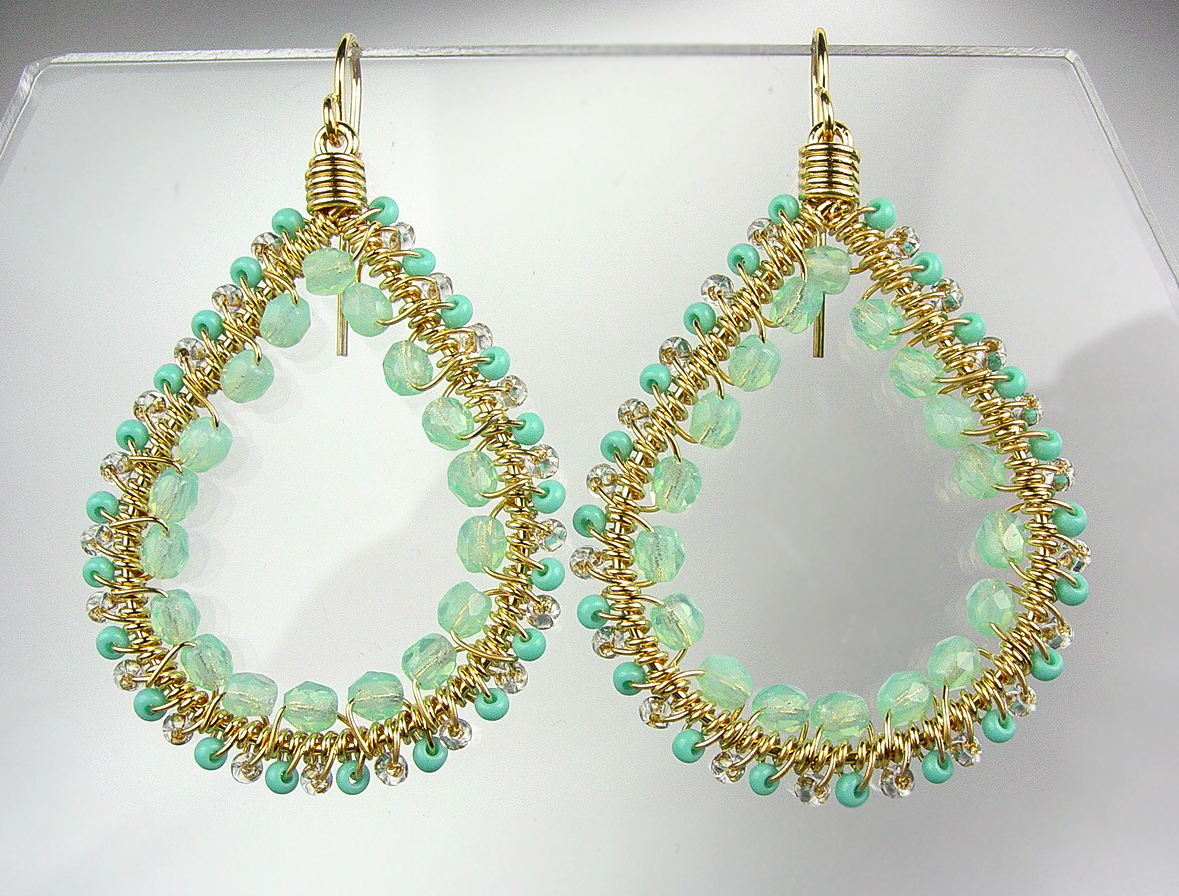 Primary image for GORGEOUS Aventurine Crystals Peruvian Beads Gold Chandelier Dangle Earrings