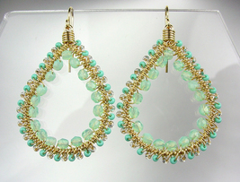 GORGEOUS Aventurine Crystals Peruvian Beads Gold Chandelier Dangle Earrings - $21.99
