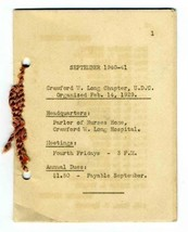 1940 Crawford W Long Chapter United Daughters of Confederacy Program Boo... - $34.65