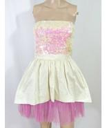 Betsey Johnson White Iridescent Pink Sequin Tulle Corset Tea Party Dress... - $84.15