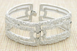 1960s Crown Trifari Modernist Textured Silver Tone Rectangle Open Link B... - $49.49