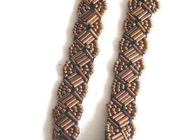 Copper and Black Elastic Beaded Fashion Headband Trendi - $9.99