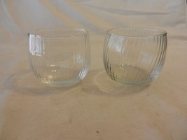 "Set of 2 Lowball Cocktail Swirl Design Drink Clear Glasses 2.75"" tall - $23.75"