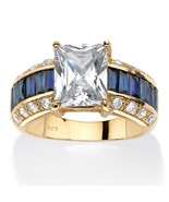 PalmBeach Jewelry 6.96 TCW CZ & Sapphire Ring 14k Gold over .925 Silver - €51,91 EUR