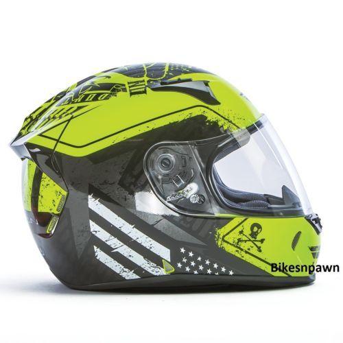 New L Fly Racing Revolt FS Motorcycle Helmet Hi-Vis/Black Patriot DOT & Snell