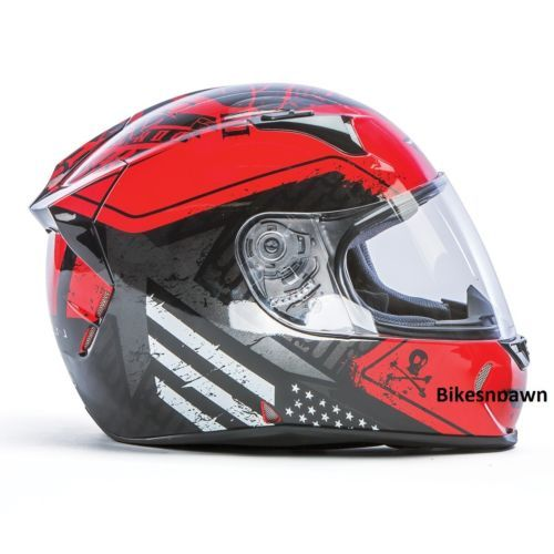 New L Fly Racing Revolt FS Motorcycle Helmet Red/Black Patriot DOT & Snell