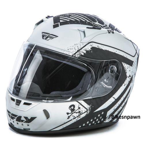 New XS Fly Racing Revolt FS Cycle Helmet Flat White/Black Patriot DOT & Snell