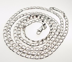 Vintage Sterling Silver Flat Chamfer Curb Hallmarked Long Necklace Chain 30 ins - $36.92