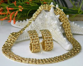 Vintage cleopatra collar choker necklace earrings goldtone thumb200