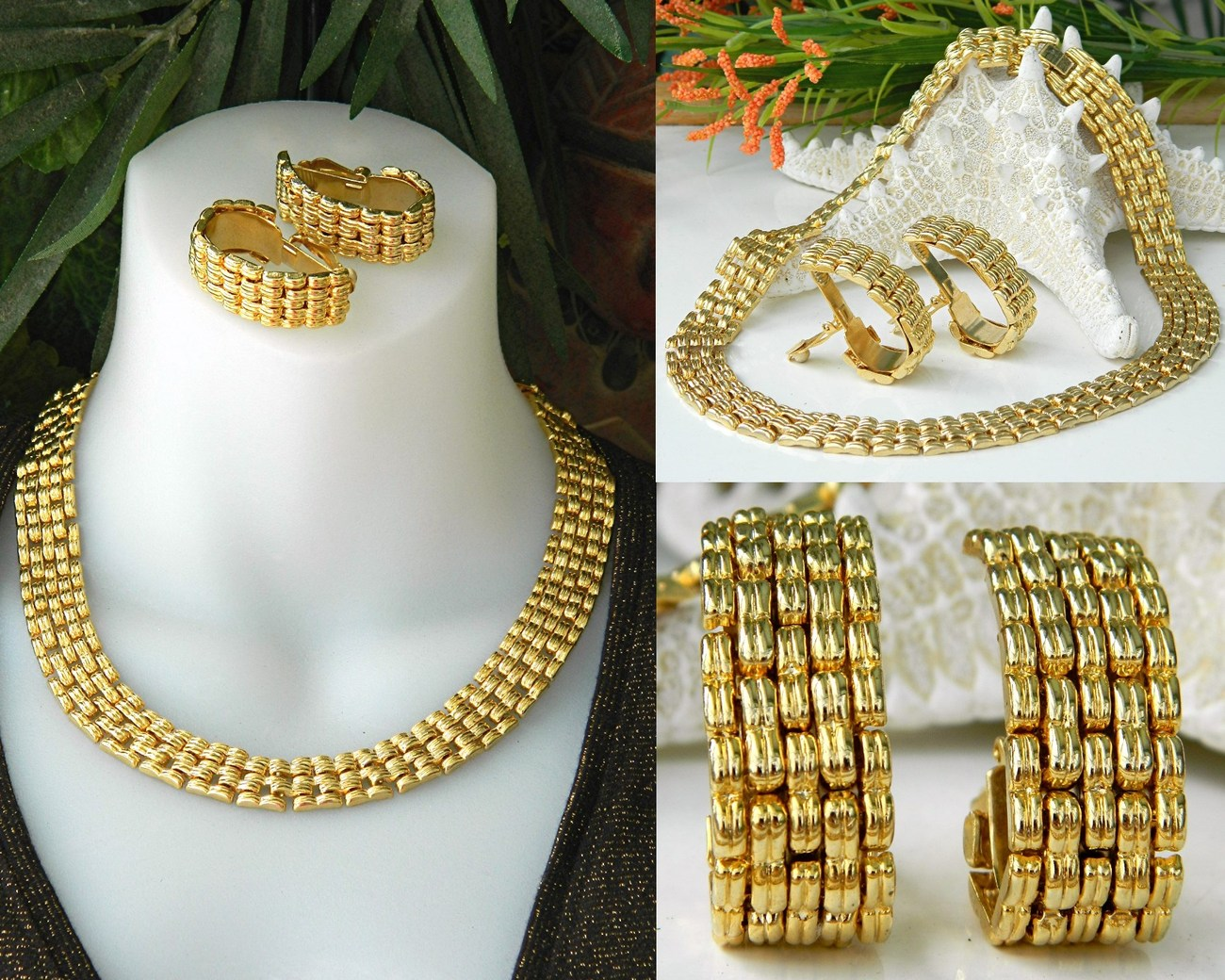 Vintage Collar Choker Necklace Earrings Gold Tone Cleopatra