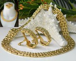 Vintage collar choker necklace earrings gold tone cleopatra thumb155 crop