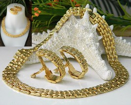 Vintage Collar Choker Necklace Earrings Gold Tone Cleopatra - $29.95