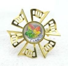 Vintage Canada Leaf Glass Souvenir Gold Tone Pin Brooch - $19.80