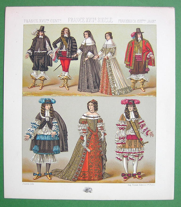 FRANCE Costume of Royalty Maria Theresa King - COLOR Litho Print  A. RACINET