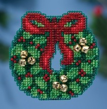 Jingle Bell Wreath Winter Series 2016 seasonal ornament kit cross stitch Mill Hi - $6.75
