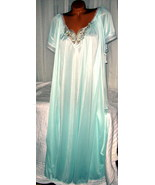 Light Mint Green w/White Embroidery Nylon Long Nightgown 3X Semi Sheer - $23.00
