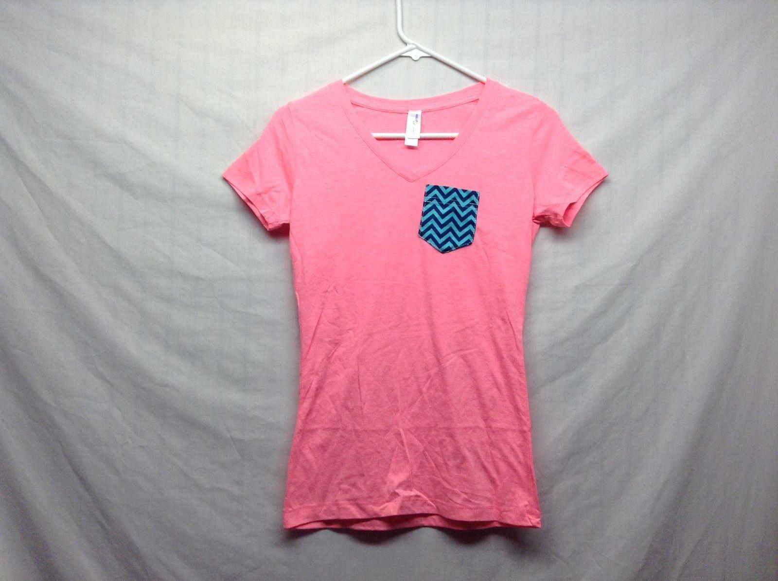 NEW Women's Indigo Cotton Pink V Neck Casual Shirt Sz S