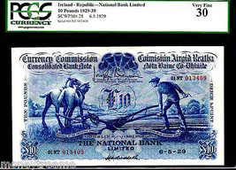 "IRELAND P28 10 POUND 1939 ""PLOUGH MAN"" PGCS 30! FINEST OF ONLY 2 KN! DUB... - $12,500.00"