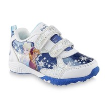 Disney FROZEN Girl's size 12 Velcro NEW Sparkly Sneaker Shoes Anna Elsa ... - $22.99