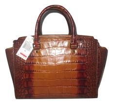 Michael Kors Handbag Large Selma Top Zip Croc Embossed Leather Satchel B... - $199.99