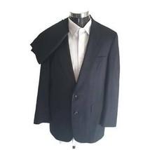 Austin Reed Mens Formal Suit Black 100% Wool Stripe Jacket 46R Pants 34x... - $49.49