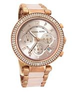 BRAND NEW WOMENS MICHAEL KORS (MK5896) PARKER ROSE GOLD BLUSH ACETATE WATCH - $138.60