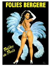 Folies Bergere 13 x 10 inch Dancer in Blue Vint... - $19.95
