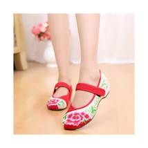 Chinese Embroidered Floral Shoes Women embroidery Ballet dancing shoes Cotton110 - $20.99
