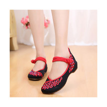 Chinese Embroidered Floral Shoes Women embroidery Ballet dancing shoes Cotton105 - $20.99