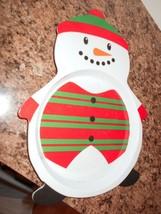 Hard Plastic Melamine Plate 11 X 9 Snowman - $8.59