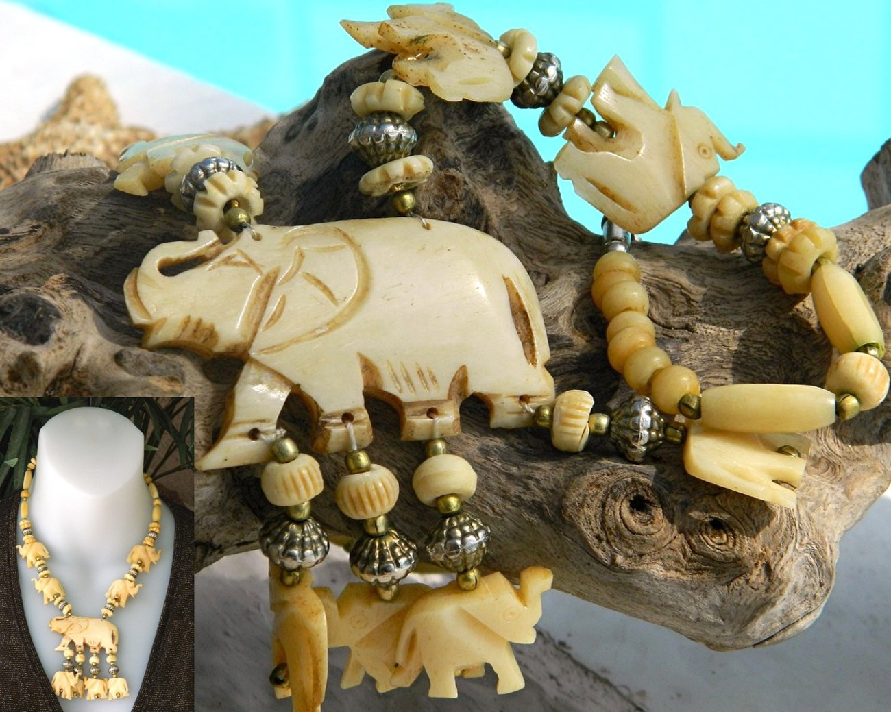 Primary image for Elephant Necklace Bone Hand Carved Figural Beads Vintage