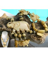 Elephant Necklace Bone Hand Carved Figural Beads Vintage - $42.95