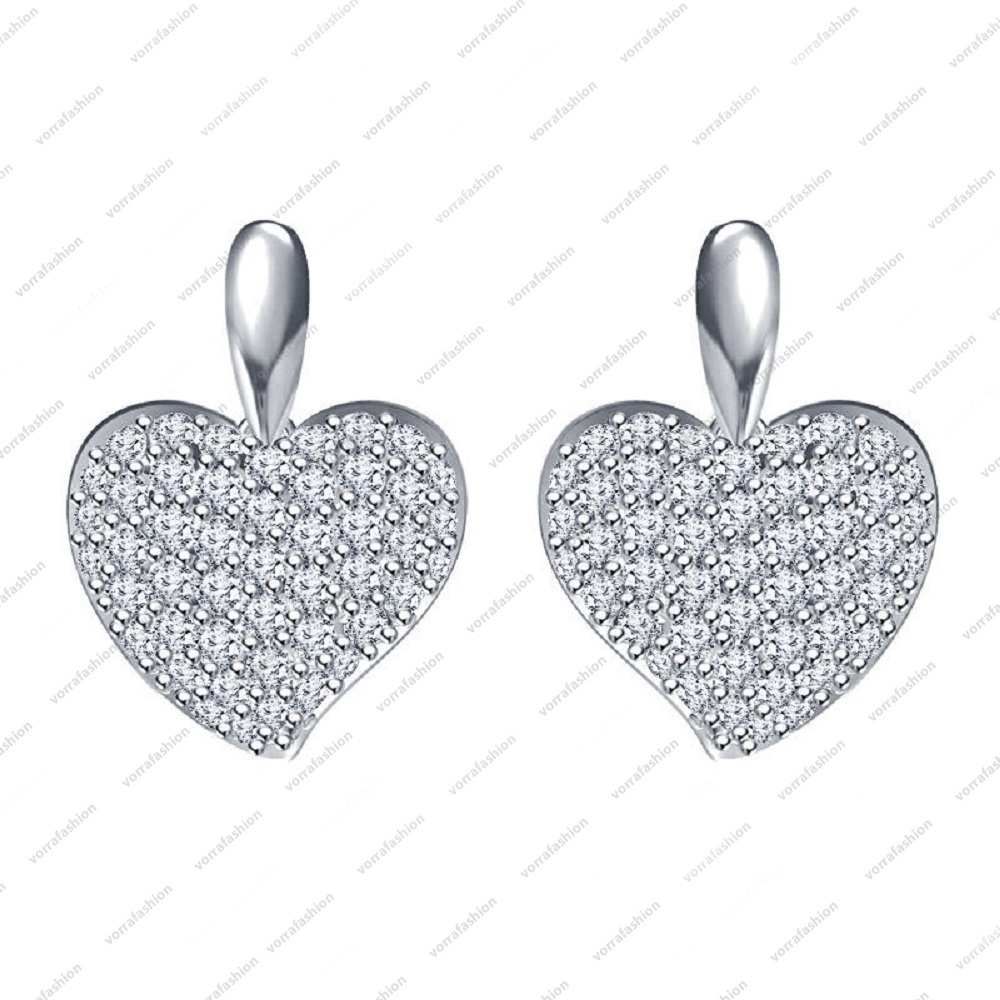 Primary image for Platinum Plated 925 Sterling Silver White CZ Lovely Heart shape Stud Earrings