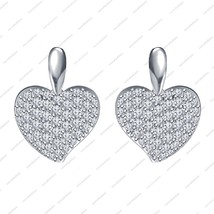 Platinum Plated 925 Sterling Silver White CZ Lovely Heart shape Stud Ear... - $48.99