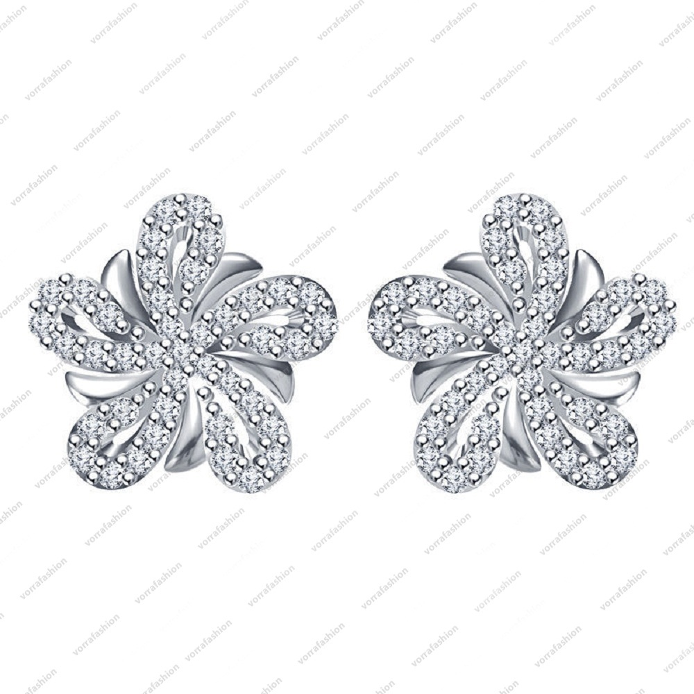 Primary image for White Platinum Plated .925 Sterling Silver Round Cut CZ Flower Stud Earrings