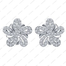White Platinum Plated .925 Sterling Silver Round Cut CZ Flower Stud Earrings - $37.99