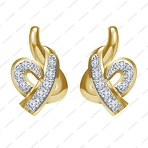 Round 925 Sterling Silver 14K Gold Over White CZ Beautiful Fancy Style Earrings - £27.00 GBP