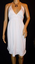 Lucky Brand White Embroidered Halter Dress Size: XL