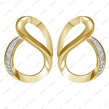 14K Gold Over Round White CZ in 925 Sterling Silver Ravishing Fashion Ea... - £27.77 GBP