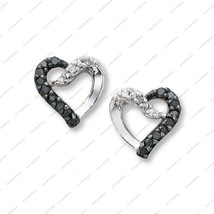 925 Silver White Gold Plated White & Black CZ Round Cut Angelic Heart Ea... - £30.38 GBP