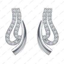 925 Sterling Silver Platinum Plated Round Cut White CZ Lovely Fancy Earrings - £29.31 GBP