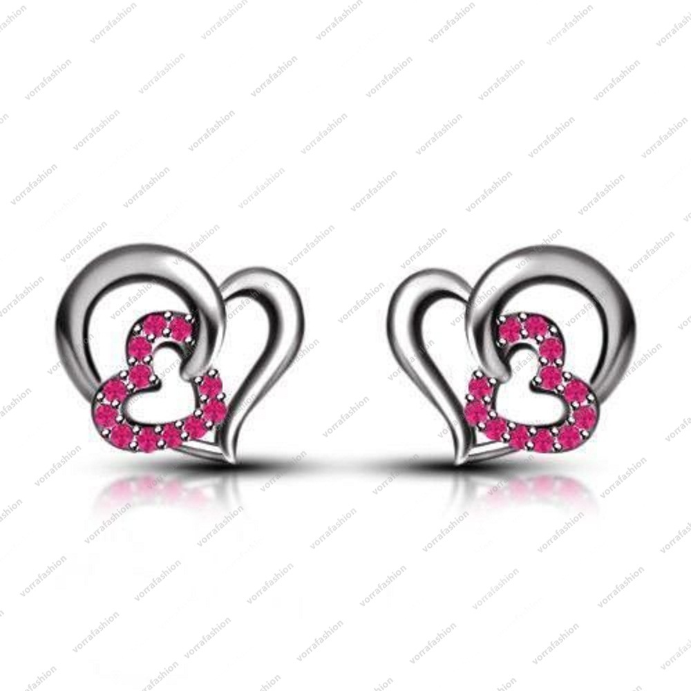 Primary image for 925 Sterling Silver Platinum Plated Pink Sapphire Round Cut Heart Stud Earrings