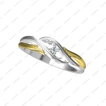 14 KT Gold Plated 925 Sterling Silver Two Tone Bypass Solitaire Ring w/ White CZ - £28.25 GBP