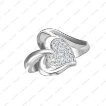 925 Sterling Silver Round Cut White CZ Angelic Heart Ring in All Size 5 6 7 8 9  - £11.94 GBP