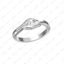 925 Sterling Silver White Plated Round Cut CZ Engagement Bypass Ring in Size 5 6 - £12.47 GBP