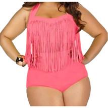 High Waist Fat Tassel Bikini Women Swimwear Swimsuit   pink L - $23.99