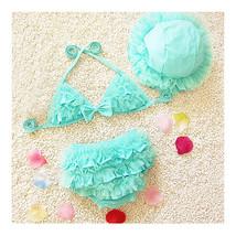 SPA 3pcs Girls Bikini Lace Hat Kids Swimwear Swimsuit Bathing Suit  sky blue - $21.99
