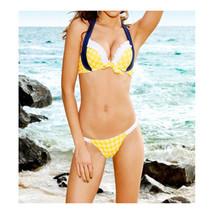 Swimwear Swimsuit Point Lace Macrame Bikini Women   yellow point  S - $15.99