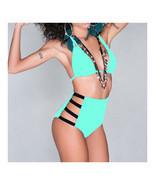 High Waist Swimwear Swimsuit Sexy Vintage Tie Bikini  lake green  S - $15.99