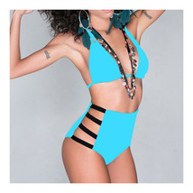 High Waist Swimwear Swimsuit Sexy Vintage Tie Bikini  lake blue  S - $15.99
